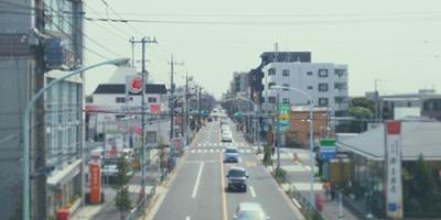 View of Inokashira street from pedestrian bridge