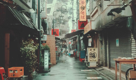 Rainy food street