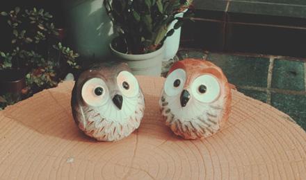 Miniature owl figurines