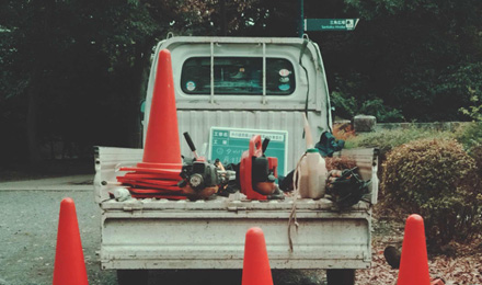 Traffic cones on truck bed