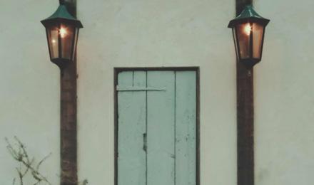 Narrow wooden door