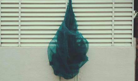 Blue fabric netting