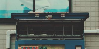 Blue vending machine