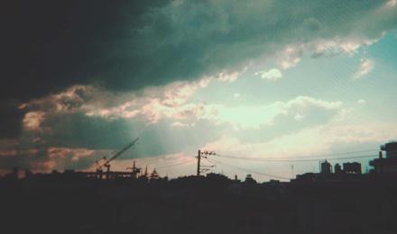 Sun rays through heavy clouds