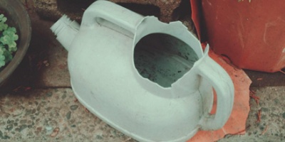 Broken watering can