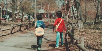 Two boys walking